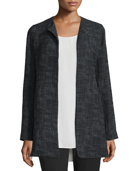 Eileen Fisher Crosshatch Tencel® Long Jacket, Black