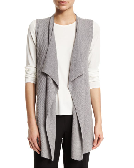Eileen Fisher Organic Linen-Blend Draped-Front Vest, Smoke, Plus Size