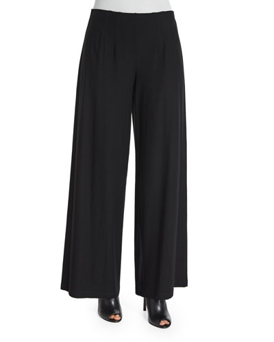 Washable Crepe Wide-Leg Pants