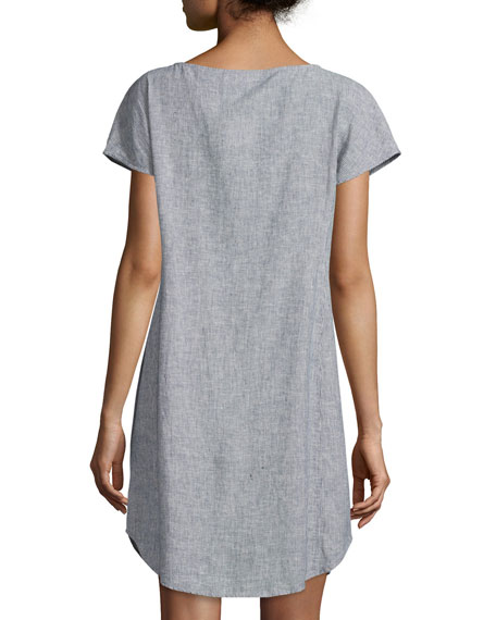 Eileen Fisher Short Sleeve Chambray Dress Plus Size