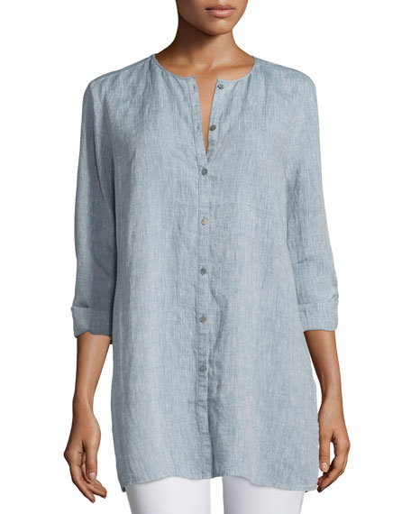 Eileen Fisher Organic Linen Long Shirt, Chambray