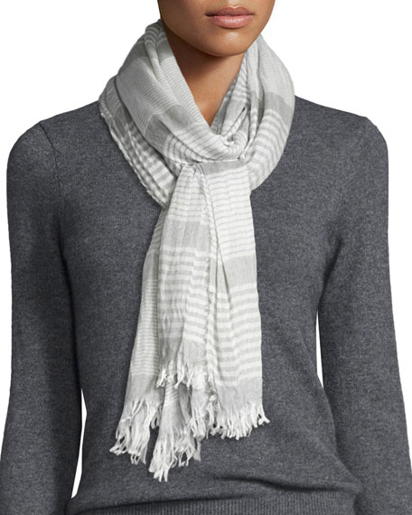 Eileen Fisher Crinkle-Stripe Modal/Wool Scarf, Smoke