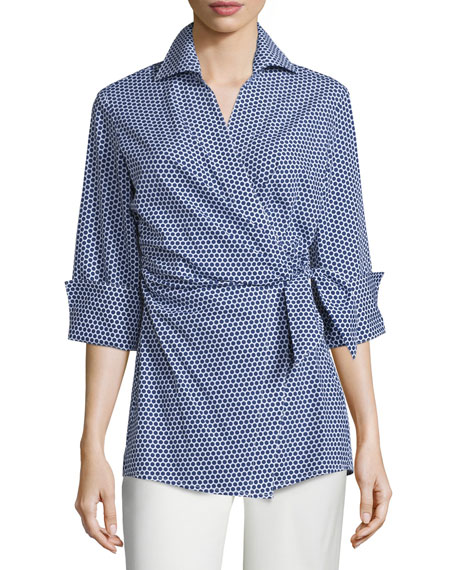 Finley Honeycomb-Dot Wrap Blouse, Navy/White