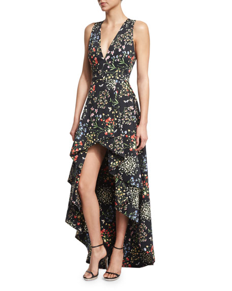 Aveena Sleeveless Floral-Print High-Low Gown