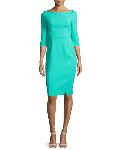 3/4-Sleeve Sheath Dress, Mint Sorbet