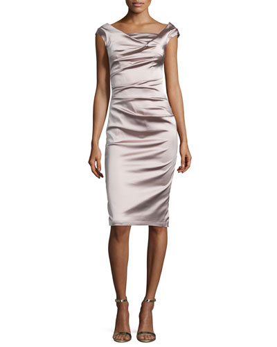Donde Ruched Satin Cocktail Dress, Marble