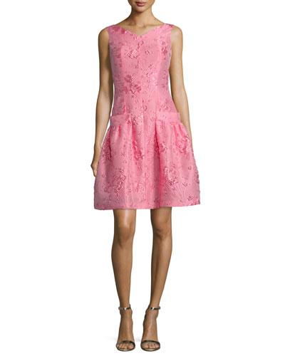 Koena Sleeveless Fit-&-Flare Dress, Strawberry (Fraise)