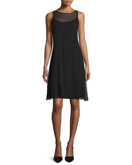 Eileen Fisher Sleeveless Sheer Herringbone Dress, Petite