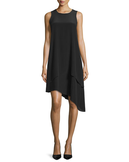 Eileen Fisher Double-Layer Silk Dress, Black, Petite