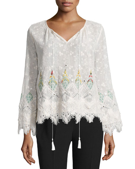Elie Tahari Imelda Long-Sleeve Embroidered Blouse, Natural