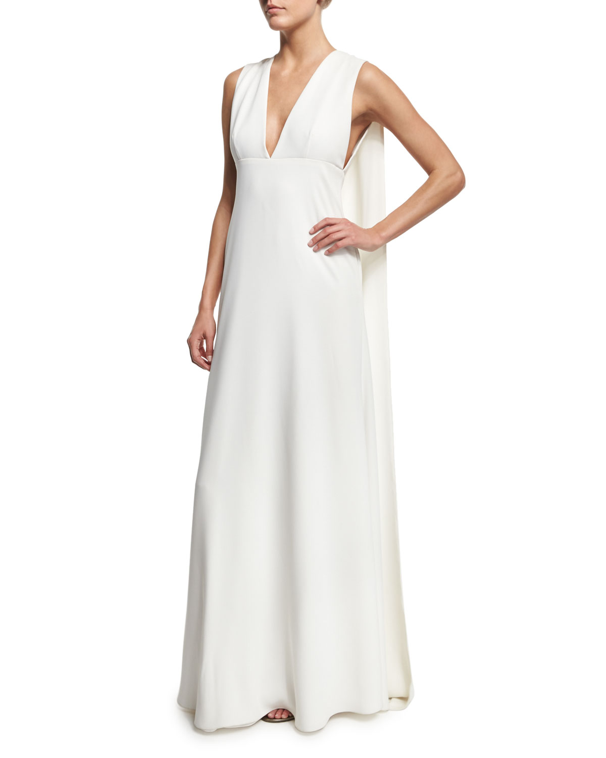 9c498522d3 Jill Jill Stuart Sleeveless V-Neck Cape Gown