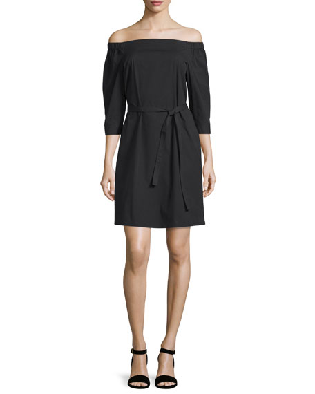 Theory Zizinna Off-the-Shoulder Poplin Dress, Black