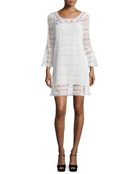 Nanette Lepore Long-Sleeve Lace Dress, White