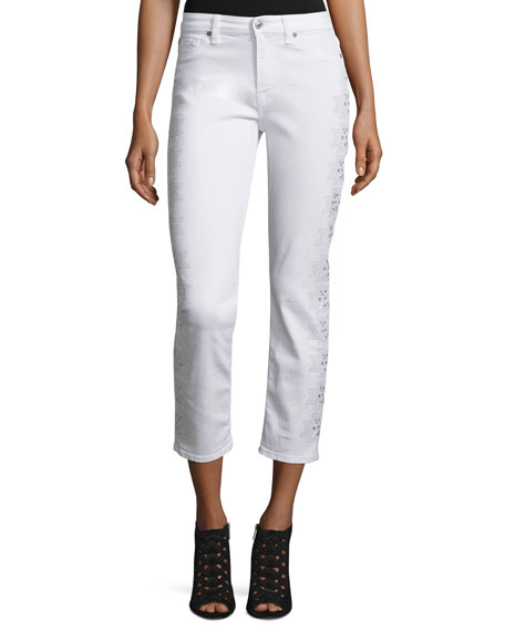 7 For All Mankind Kimmie Embroidered-Outseam Cropped Jeans,