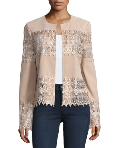 Lace & Suede Topper Jacket