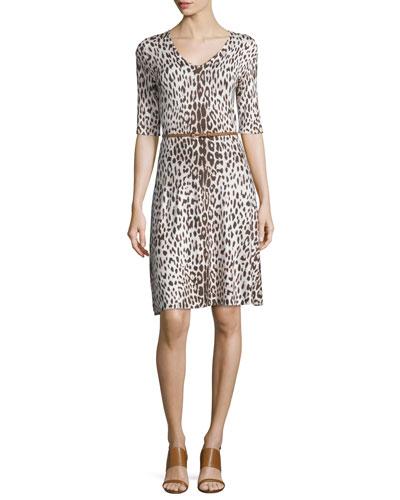 Leopard Fit-and-Flare Dress W/Belt, Beige Combo