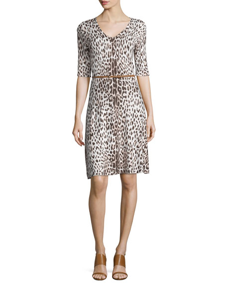 Carmen by Carmen Marc Valvo Leopard Fit-and-Flare Dress