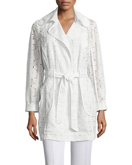 Trina Turk Long-Sleeve Lace Belted Coat, Whitewash