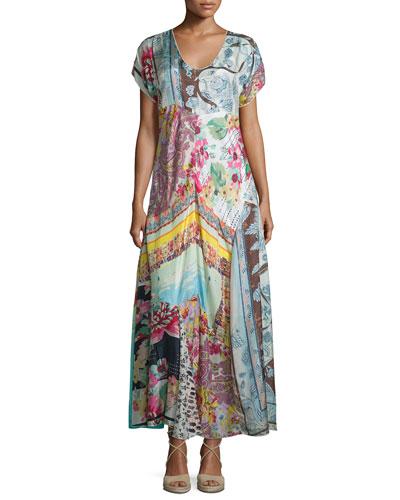 Printed Georgette Maxi Dress, Petite