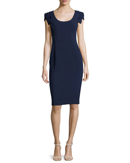 Black Halo Folded-Short-Sleeve Sheath Dress