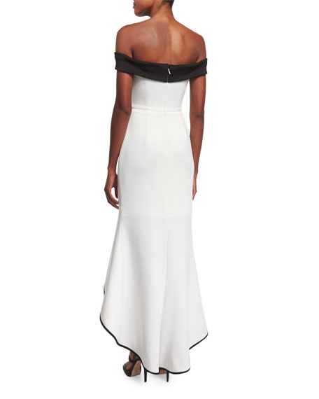 Black Halo Off-The-Shoulder Two-Tone Gown, Whip Cream