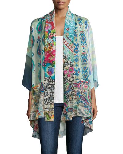 Mixed-Print Tie-Front Silk Kimono