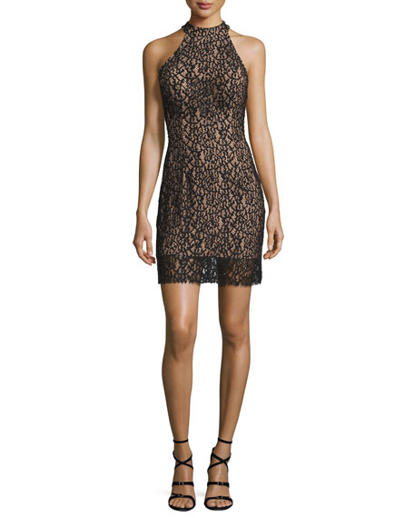 Jovani Halter Lace Cocktail Dress