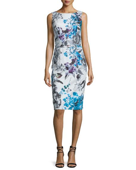 David Meister Sleeveless Floral-Print Belted Dress