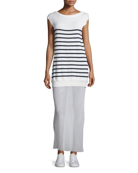 T by Alexander Wang Striped Cotton/Silk Long V-Back