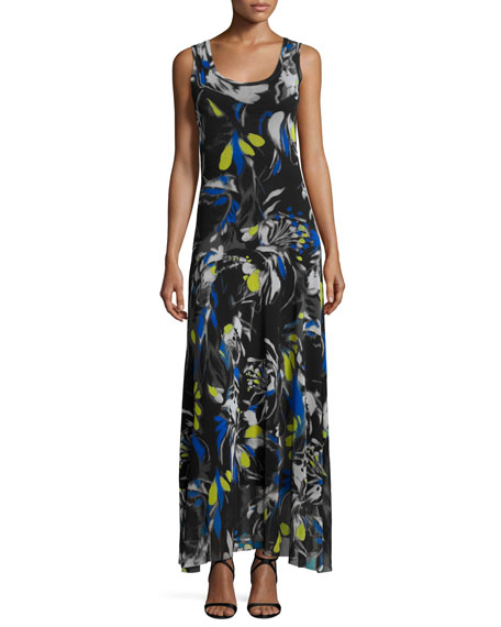 Fuzzi Printed Scoop-Neck Sleeveless Maxi Dress