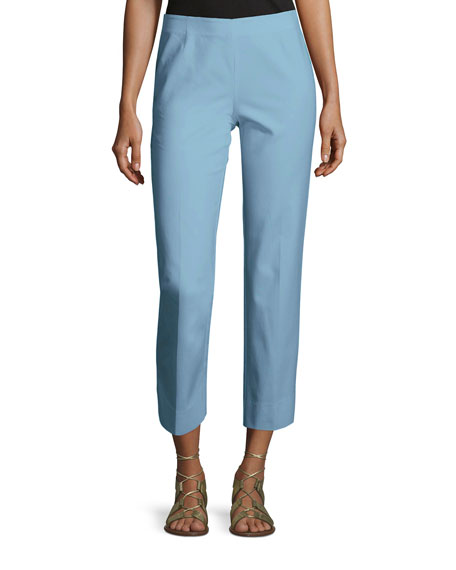 Lafayette 148 New York Bleecker Stretch-Cotton Cropped Pants,