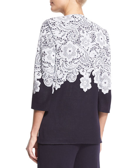 3/4-Sleeve Lace-Print Jacket, Navy/White Compare Price