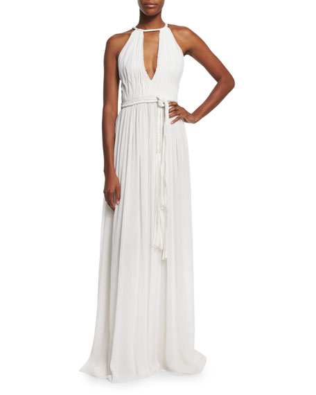 Alice + OliviaNomi Sleeveless Pleated Maxi Dress, White