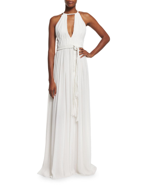 Nomi Sleeveless Pleated Maxi Dress White