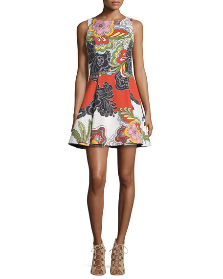 Alice + Olivia Adrianne Floral Pleated Midi Dress, Multicolor