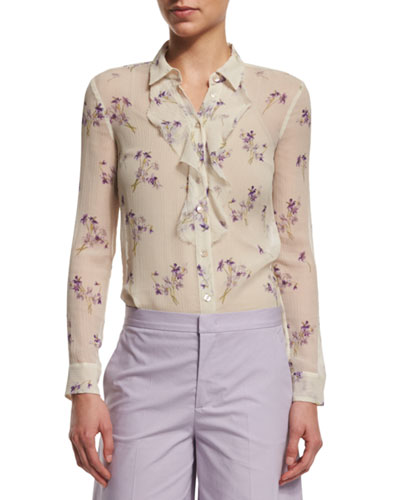 Long-Sleeve Violet-Print Blouse, Ivory