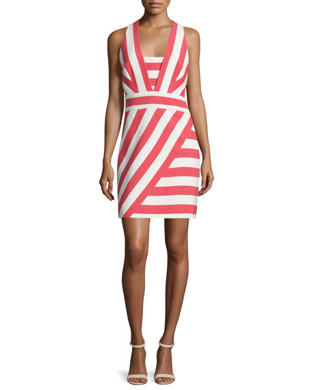 Milly Graphic-Striped Crisscross-Back Dress, Red