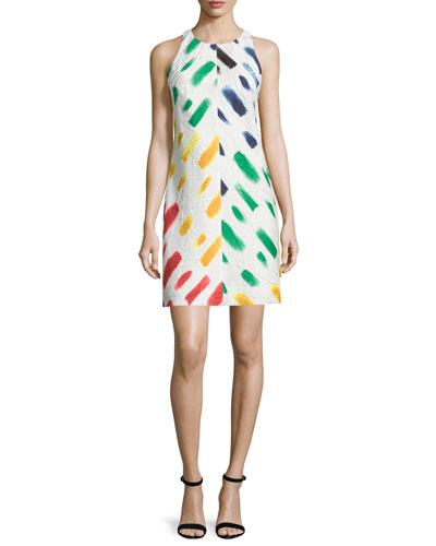 Sleeveless Couture Brushstroke Mini Dress, Multi Colors