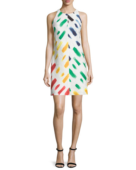 Milly Sleeveless Couture Brushstroke Mini Dress, Multi Colors