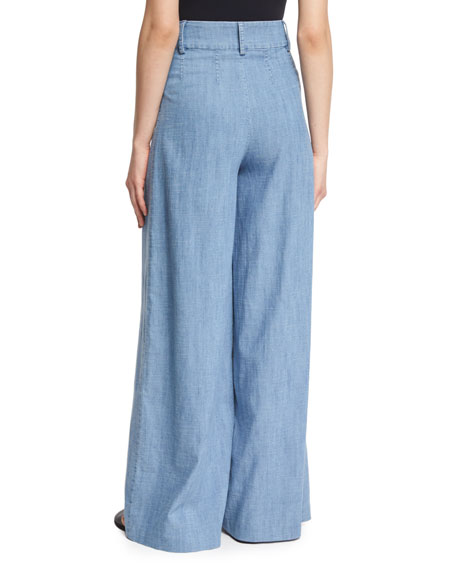 Alice + Olivia Trudie High-Waist Chambray Wide-Leg Pants, Blue