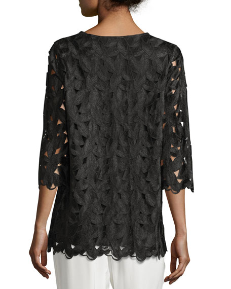 Half-Sleeve Leaf-Cut Tunic Top