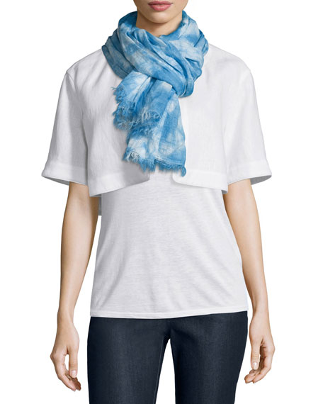 Lafayette 148 New York Marbleized Hues Flax Scarf,