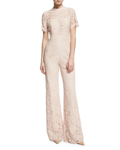 Kelie Short-Sleeve Lace Flare-Leg Jumpsuit, Blush