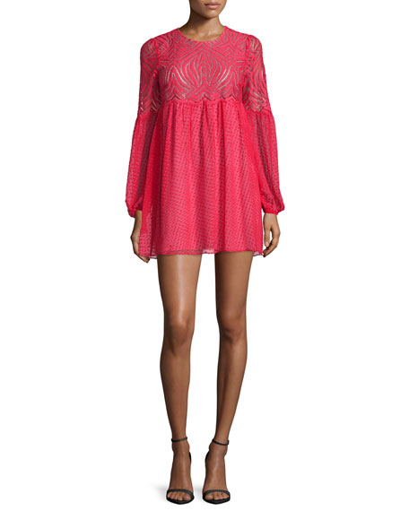 BCBGMAXAZRIA Kitra Bishop-Sleeve Mini Babydoll Cocktail Dress, Lipstick Red