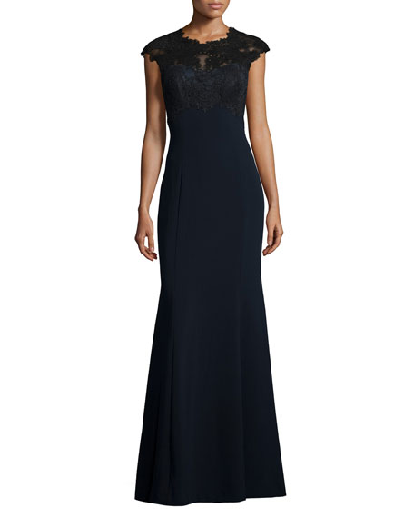 Theia Cap-Sleeve Lace-Applique Gown, Black/Midnight