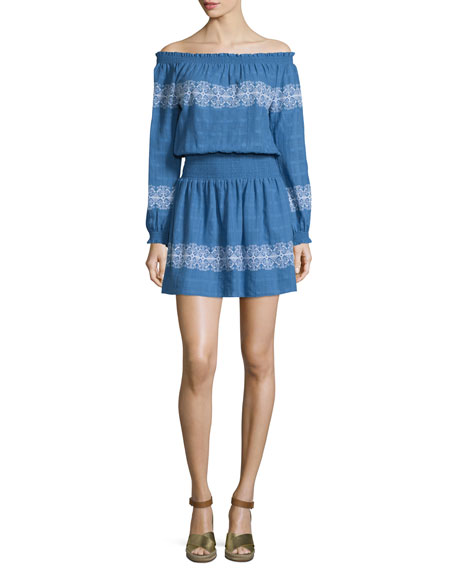 Tory Burch Loretta Off-the-Shoulder Embroidered Gauze Dress