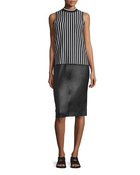 Rag & Bone Phoebe Lamb Leather Pencil Skirt, Black