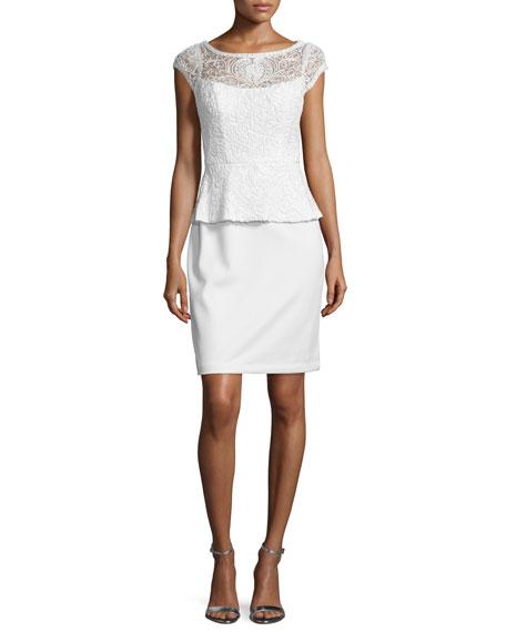 Sue Wong Lace Peplum Sheath Cocktail Dress