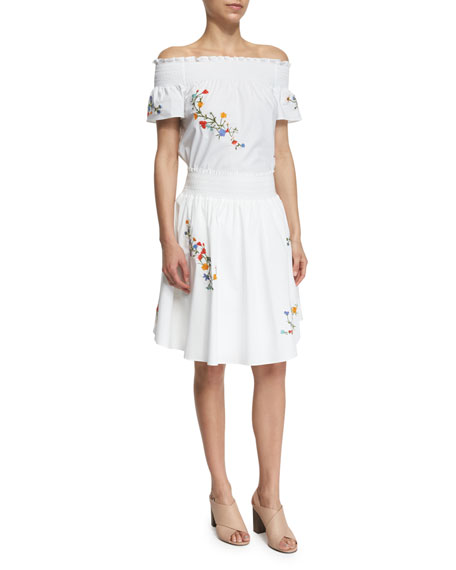 Tory Burch Off-the-Shoulder Embroidered Blouse