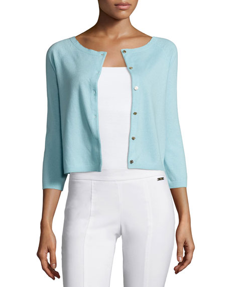 Tory Burch Rosemary 3/4-Sleeve Cashmere Cardigan